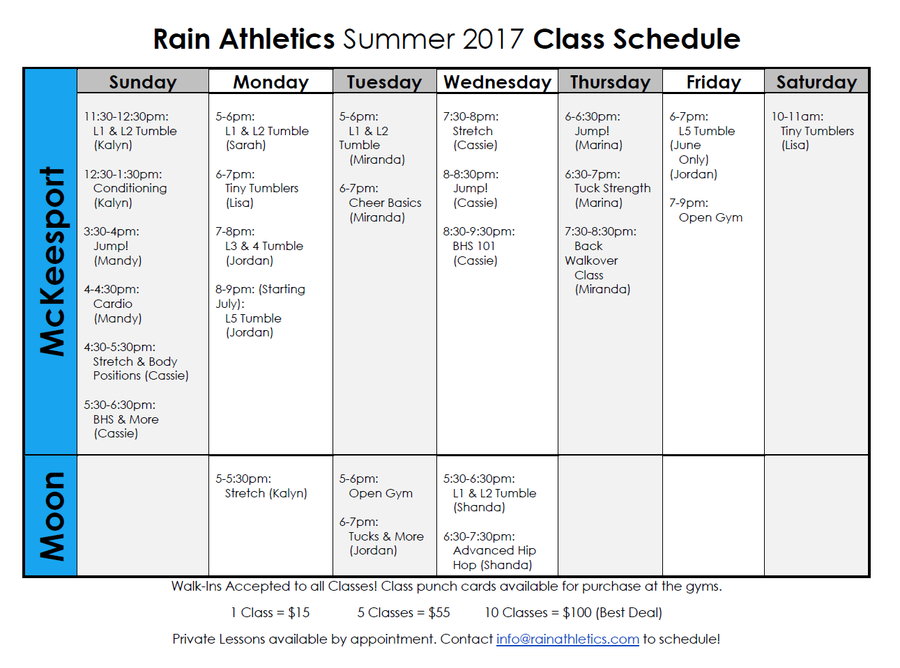 Rain Athletics Summer Class Schedule